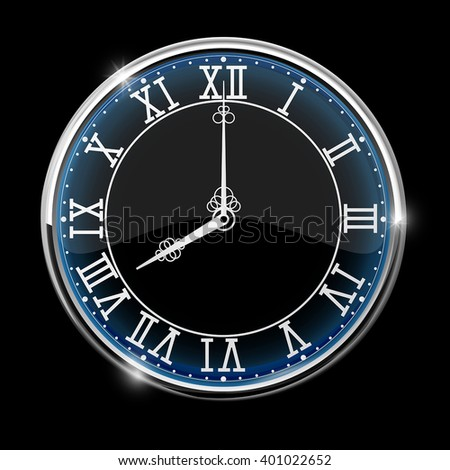Vintage Roman numeral clock. Black vector illustration