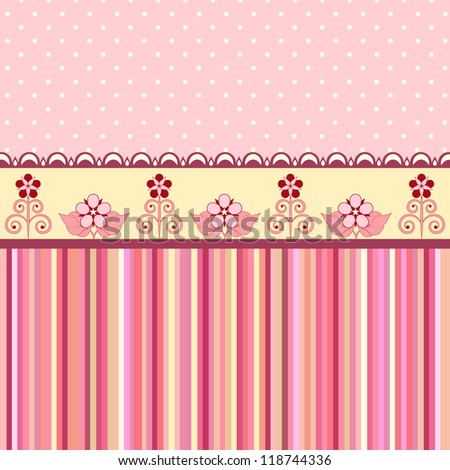 Vintage romantic background. Pink colors. Valentine day - stock vector