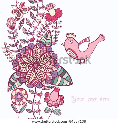 Vintage romantic background with bird. Bird, floral card with place for you text