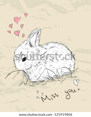 Vintage romantic card with cute animal. Vector illustration EPS8 - stock vector