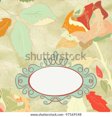 Vintage rose floral card (not auto-traced). And also includes EPS 8 vector - stock vector