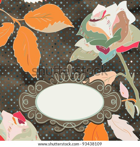 Vintage rose floral card (not auto-traced). EPS 8 vector file included - stock vector