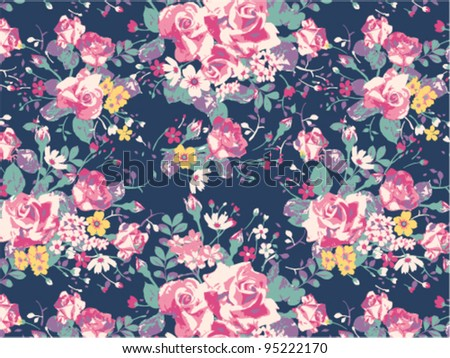 vintage rose pattern background - stock vector