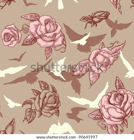 Vintage roses and birds seamless pattern - stock vector