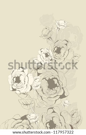 vintage roses background - stock vector