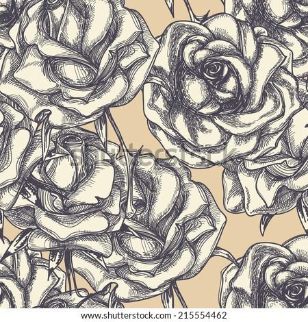 Vintage roses in bloom seamless pattern - stock vector