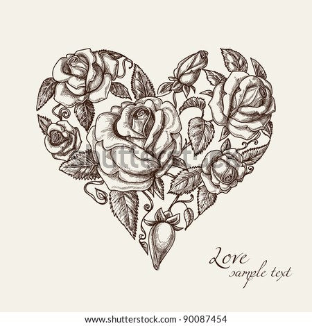 Vintage roses in shape of a heart - stock vector