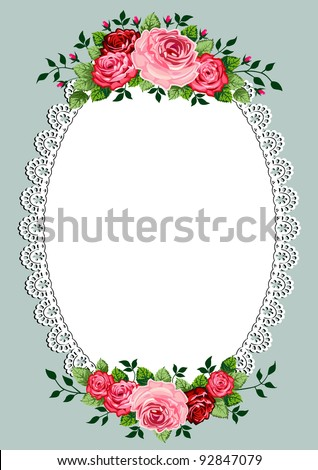 Vintage roses oval frame with space for your text or design, invitation template - stock vector