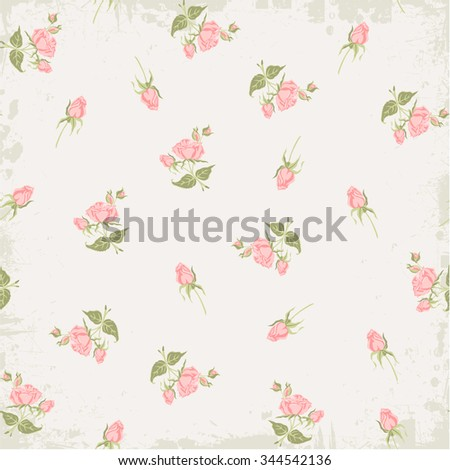 Vintage roses pattern. Background floral pattern. Illustration pattern with roses bouquets. Vector illustration for your celebration. Shabby Chic Rose Patterns and seamless backgrounds. - stock vector