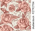Vintage roses seamless pattern vector - stock vector