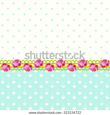 Vintage roses with polka dots and hearts background - stock vector