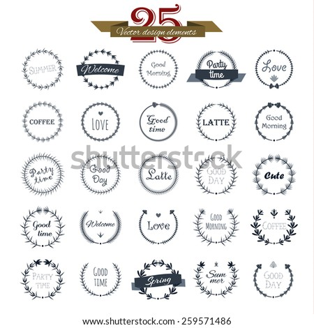 Vintage round elements and page decoration premium quality collection. Floral design. Vector set. - stock vector