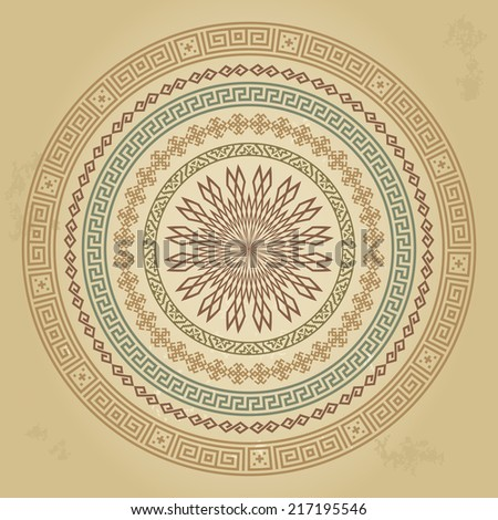 Vintage round pattern with ethnic ornament on grunge background. Can be used for wallpaper, textiles, book design, pattern fills, web page background, surface textures, scrapbooking. Vector - stock vector