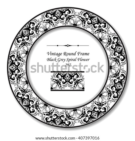 vintage round retro frame 358 curve stock vector 423638122