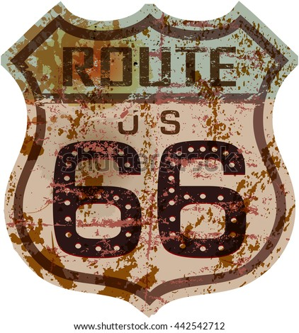 vintage route sixty six road sign,,grungy vector illustration - stock vector