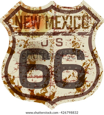 vintage route sixty six road sign,New Mexico,grungy vector illustration - stock vector
