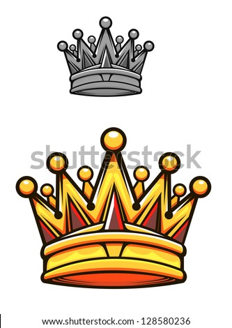 Vintage royal crown in cartoon style for heraldry design, such as idea of logo. Jpeg version also available in gallery - stock vector