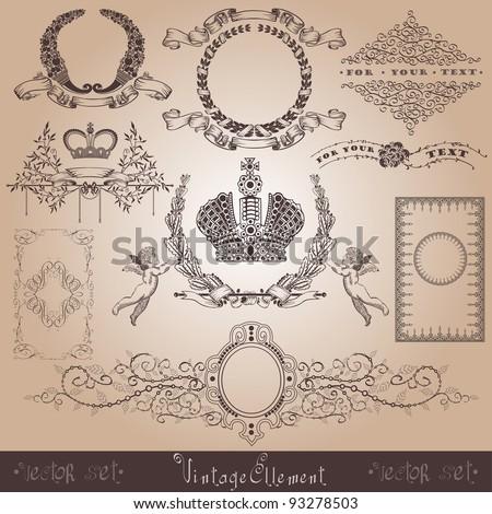 vintage royal element - stock vector