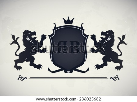 Vintage royal emblem with lions and shield concept background poster - stock vector