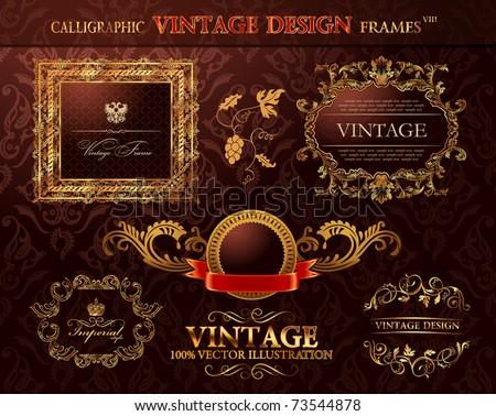 Vintage royal gold frames ornament set. Vector element decor - stock vector