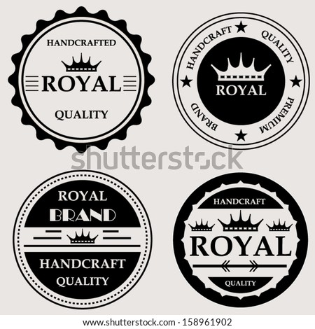 Vintage royal quality handcraft badges design set - stock vector