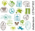 Vintage Rubber Stamp Collection - for your design, scrapbook - in vector - stock vector