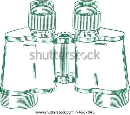 Vintage Russian Soviet Red army binocular. Technical drawing. Vector image - stock vector