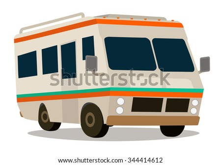 Vintage RV camper cartoon for vacations - stock vector