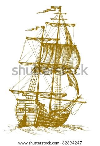 Vintage sailboat 2 - stock vector
