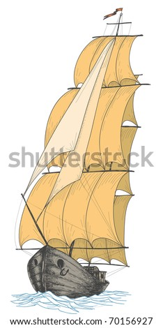 Vintage sailboat - stock vector
