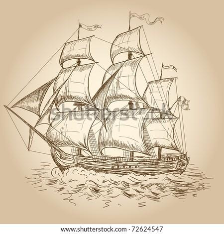 Vintage sailboat - stock vector