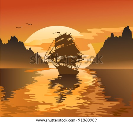 Vintage sailboat sailing at sunset, vector illustration - stock vector