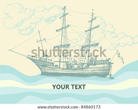 Vintage sailing boat side view, stylized waves and clouds design - stock vector