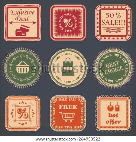 Vintage sale labels collection. Design labels, badges and icons for sale. Bright colors    - stock vector