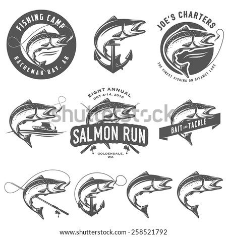 Vintage salmon fishing emblems and design elements - stock vector