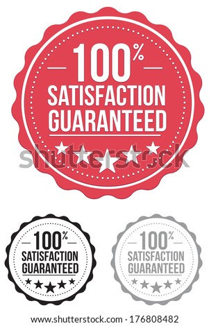 vintage satisfaction guaranteed seal. stamp. red. vector. set. - stock vector