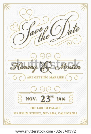 Vintage save the date card letterpress style design. Very easy to edit. Save the date template. All type use free font. Vector illustration - stock vector