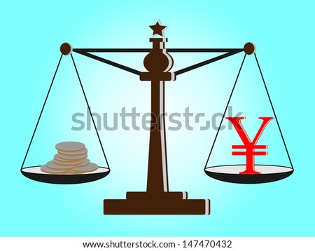 Vintage scales with  yen sign and coins on balance scale - stock vector
