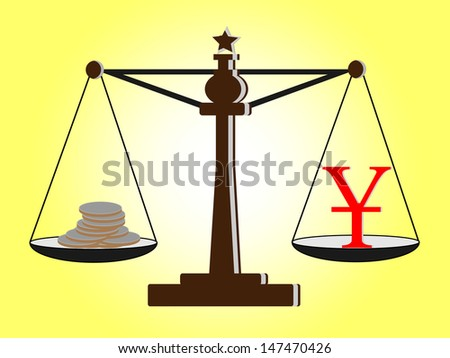 Vintage scales with  Yuan sign and coins on balance scale - stock vector