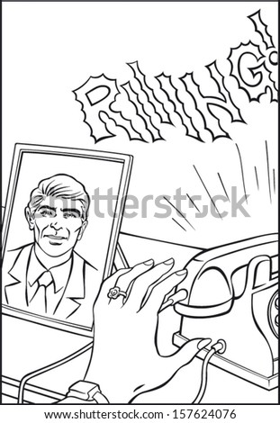 Vintage scene of rinnging phone and reaching female hand who expects call from her loved man. - stock vector
