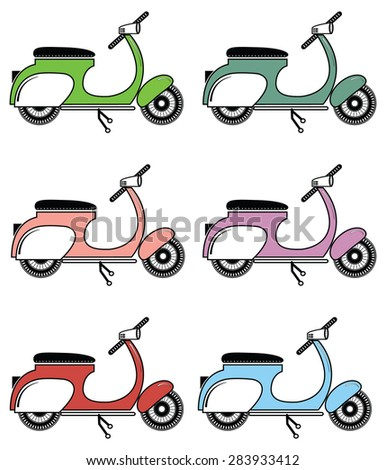 Vintage scooter II  on white background  - stock vector