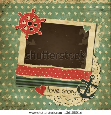 Vintage scrap nautical card with photo frame, scrapbook template - stock vector