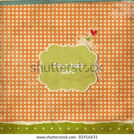 Vintage scrap romantic card - stock vector