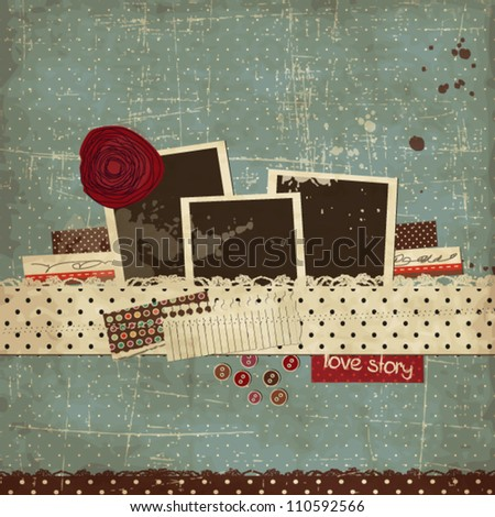 Vintage scrap template with a rose and photo frames - stock vector