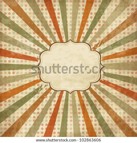 Vintage scrap template with sunbeams on polka dot background - stock vector