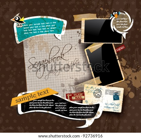 Vintage scrapbook composition with old style distressed postage design elements and antique photo frames plus some post stickers. Background is wood. - stock vector