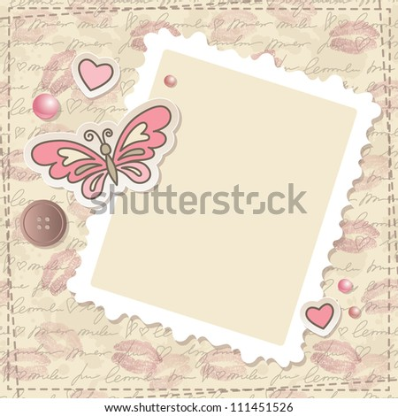 vintage scrapbooking set with butterfly, hearts and paper frame - stock vector
