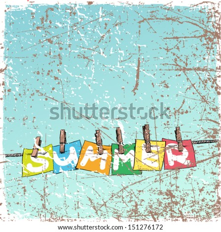 Vintage scratched background with blanks on the rope. - stock vector