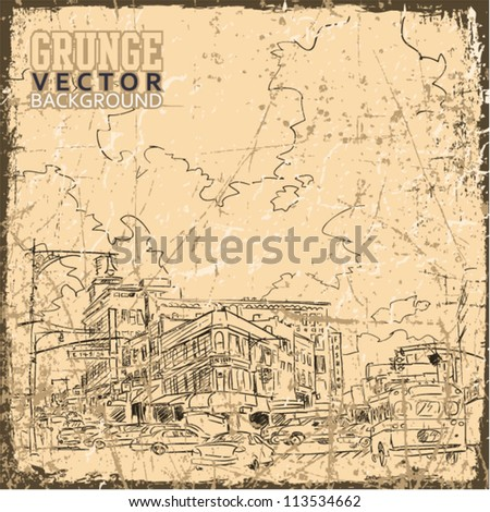Vintage scratched background with cityscape.