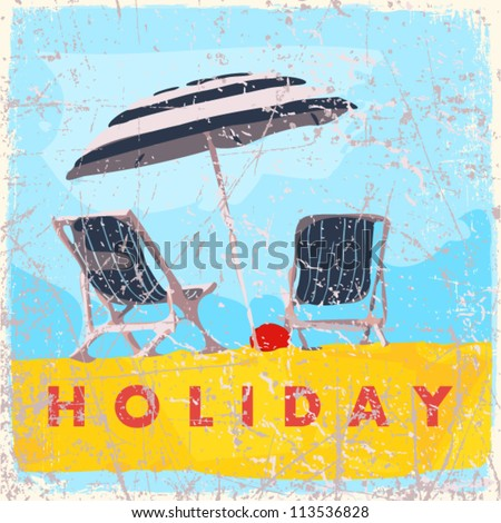 Vintage scratched background with deck chair and umbrella.